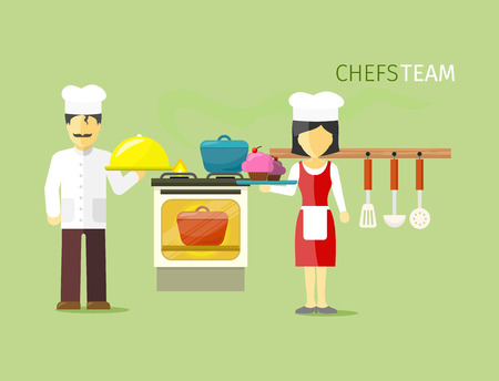 chef kitchen: Chefs team people group flat style. Chef hat, chef cooking, cook food, restaurant and kitchen, chef kitchen, occupation and profession job illustration Illustration