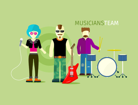 the singer: Musicians team people group flat style. Music and singer, artist and musical instruments, concert and instrument guitar, rock playing, stage and guitarist illustration