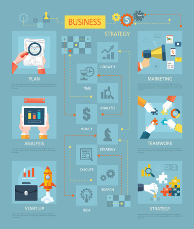 Business strategy plan marketing. Plan marketing, analysis and teamwork, startup and business plan, strategy concept, strategy planning, business success, chart and management illustration Illustration
