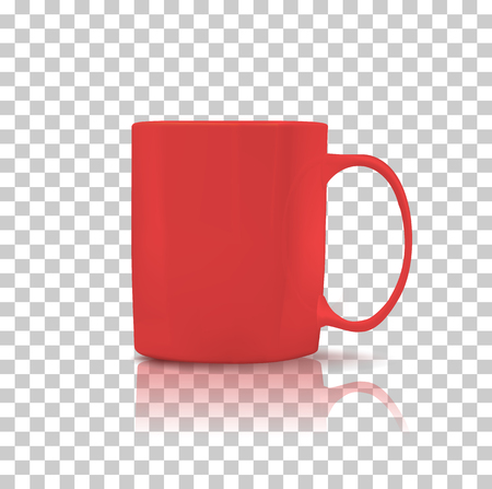 Kopje of mok rode kleur. Object koffie of thee, keramische gebruiksvoorwerpen en drank ontbijt, verfrissing cafeïne, handvat container, realistische glanzende elegantie beker. Cup pictogram. Transparante achtergrond