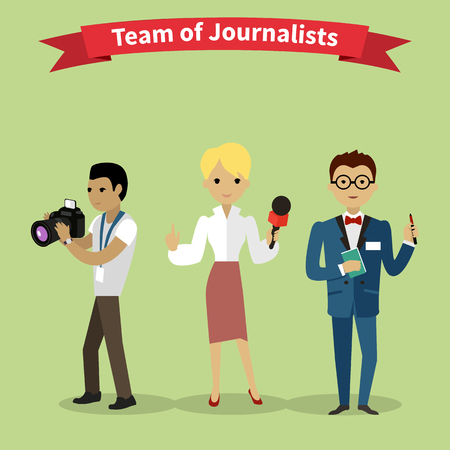 news reporter: Journalists team people group flat style. Report and press, writer and interview, media news, news reporter, professional and camera, character reporter, journalism illustration