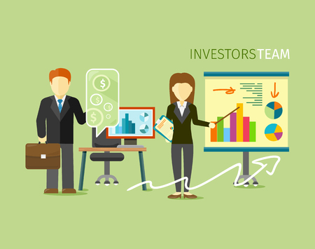 corporate team: Investors team people group flat style. Investment and business, stock market, finance and business people, money chart, corporate growth illustration