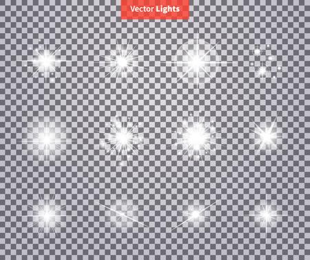 Set bagliori luminosi fuochi d'artificio luce della stella. Flash bagliore, scintilla illuminato, bagliore effetto lucido esplosione, scintilla, starburst. Flare, stella e scoppio. scintilla isolata sulla trasparenza. Glow luce speciale effetto