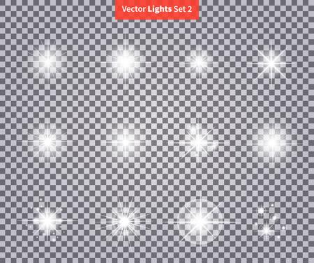 Set brille lumineux des feux d'artifice de lumière des étoiles. lueur Flash, étincelle allumée, flare effet, briller explosion étincelle, starburst. Flare, étoile et rafale. étincelle isolée sur la transparence. Glow lumière effet spécial Vecteurs