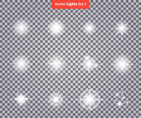 Zestaw świeci jasne fajerwerki Star Light. poświata Flash, iskierka oświetlenie, efekt flary, czyszczenie wybuchu iskry, starburst. Flare, gwiazdy i pękł. Izolowane zapłonowej przejrzystości. Glow specjalny efekt świetlny Ilustracje wektorowe