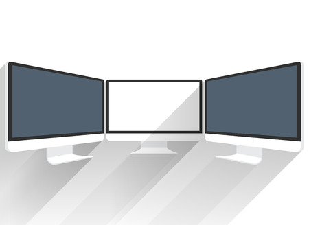 lcd screen: Isolated flat screen white picture. Black LCD screen sideview. Black LCD monitor presentations. Display monitor perspective vector mockup. Realistic computer monitor. Device mockups. Computer monitor Illustration