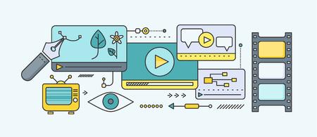 Concept de l'apprentissage et l'enseignement à distance. Didacticiel en ligne et bien sûr de la vidéo, la recherche et l'obtention du diplôme, la science et webinaire, elearning numérique, l'essai et la littérature. Définir des lignes minces et plates Icônes Vecteurs