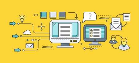 Concept of distance learning and education. Online tutorial and video course, research and graduation, science and webinar, digital elearning, test and literature. Set of thin, lines flat icons Illustration