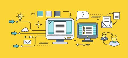 Concepto de la educación a distancia y la educación. Tutorial en línea y curso de vídeo, la investigación y la graduación, la ciencia y webinar, elearning digital, ensayo y literatura. Conjunto de iconos planos, líneas finas