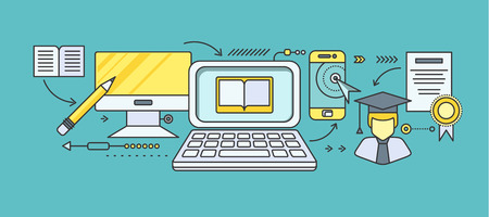 Koncepce distančního vzdělávání a vzdělávání. Online tutorial a video kurz, výzkum a promoce, věda a webinar, digitální elearning, testovací a literaturu. Sada tenkých linek, ploché ikony