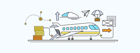 forwarding: Concept of Freight Forwarding by air. Transport delivery, shipping import industry, distribution and logistic, export railway transportation. Set of thin, lines, outline flat icons Illustration