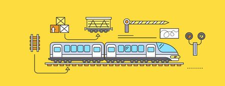 freight forwarding: Concept of Freight Forwarding rail by train. Transport delivery, shipping import industry, distribution and logistic, export railway transportation. Set of thin, lines, outline flat icons