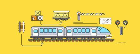 Concepto de ferrocarril Transporte de Carga en tren. entrega de transporte, la industria de importación del envío, distribución y logística, el transporte ferroviario de exportación. Conjunto de fina, líneas, describen los iconos planos
