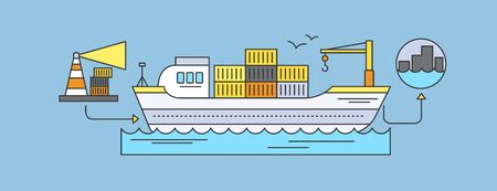 freight forwarding: Concept of Freight Forwarding by sea. Transport delivery, shipping import industry, distribution and logistic, export railway transportation. Set of thin, lines, outline flat icons
