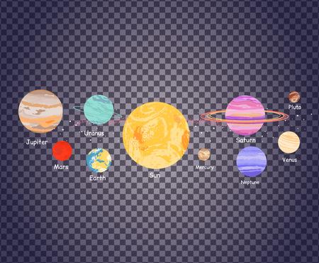 Icona di sistema solare di stile design piatto trasparente. Pianeta Terra, spazio e sole, la scienza astronomia, galassia e Saturno, Giove e Venere, Marte e Mercurio, Urano e illustrazione nettuno sulla trasparenza