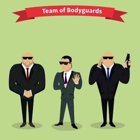 governmental: Bodyguards team people group flat style. Security and security guards, security man, secret service, protection and professional teamwork illustration
