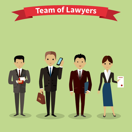 Lawyers team people group flat style. Law firm, attorney and lawyer office, legal and teamwork, work executive manager, partner authority, jurist or advocate illustration Çizim