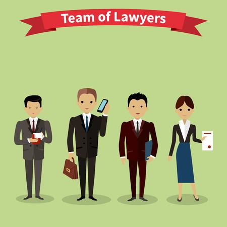 Právníci tým lidí skupina bytu styl. Advokátní kancelář, advokát a právník kanceláře, právní a týmová práce, pracovat výkonný ředitel, partner orgán, právník nebo advokát ilustrace