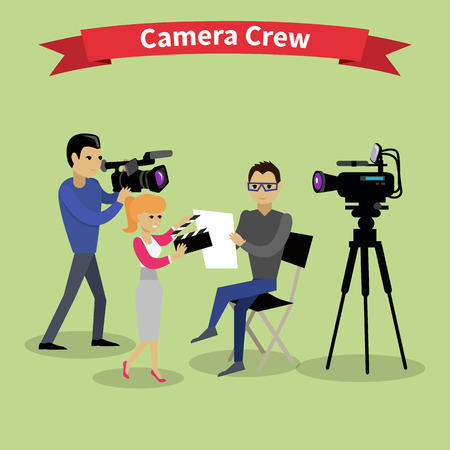 movie production: Camera crew team people group flat style. Film crew, camera man, tv crew, video camera, television teamwork, recording movie, production studio illustration