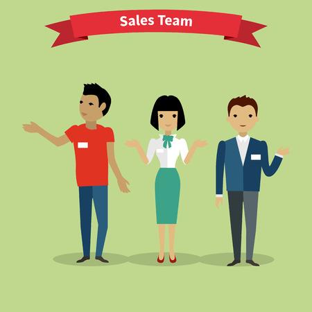 営業チームの人々 グループ フラット スタイル。営業担当者、セールスマン、販売会議、マーケティング、業務、作業仕事、管理チームワークの図  イラスト・ベクター素材