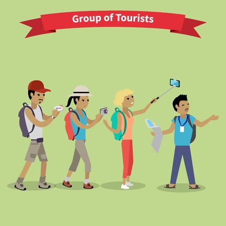 guia turistico: Los turistas gente grupo estilo plano. grupo de los viajes y el turismo, viaje y turístico aislado, guía turístico, la gente de vacaciones y turismo, el turismo ilustración del ocio del verano Vectores