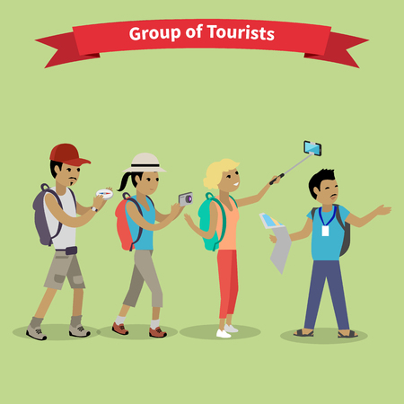 travellers: Tourists people group flat style. Travel and tourist group, tour and tourist isolated, tourist guide, vacation and tourist people, tourism summer leisure illustration