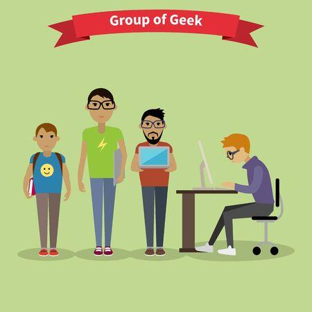 geek: equipo del grupo de la gente friki estilo plana. Nerd y geek de la computadora, vidrios friki, inconformista y el ordenador empoll�n, videojugador y de trabajo social, trabajo en equipo y de la ilustraci�n de lluvia de ideas