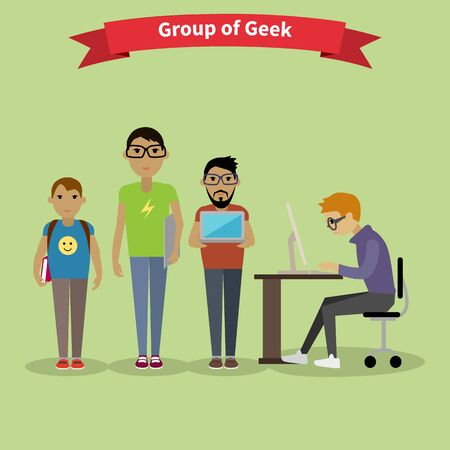 groups: Geek group team people flat style. Nerd and computer geek, geek glasses, hipster and computer nerd, gamer and corporate work, teamwork and brainstorm illustration