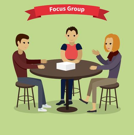 Focusgroep doelgroep op doel. Marktonderzoek, focus, groepsdiscussie, onderzoek, onderzoek, gericht concept, interview. Groep mensen aan de tafel zitten. Focus group concept. Focus groep team