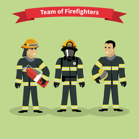 fire extinguisher: Firefighters team people group flat style. Fireman,and firefighter isolated, firefighter helmet, safety service, danger and rescue, uniform protection illustration Illustration