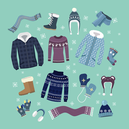 overcoat: Set of warm winter clothes design. Scarf and winter fashion, winter hat, winter coat, cloth and hat, jacket and glove, coat and boot, outerwear seasonal illustration