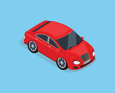 top of the world: Flat 3d isometric high quality city transport icon. Sedan automobile. Car for isometric world. Isometric car sportscar, SUV luxury high class sedan. Red isometric car. Isolated car icon top view Illustration