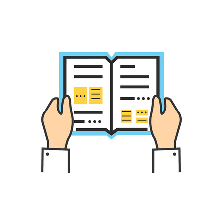 reads: Reading book encyclopedia textbook icon flat. Reading book, man reading book. Book reader sign icon. Person reading book. Read book isolated icon. Hands hold book. Reading book illustration Illustration