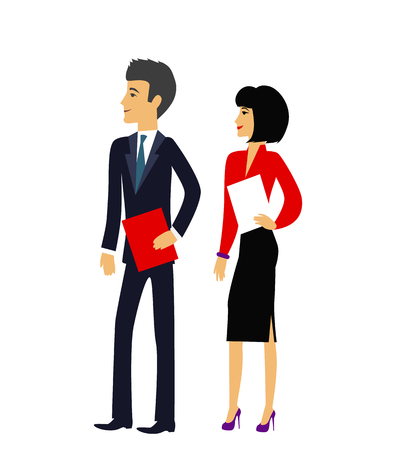 office manager: Office people. Business people group human resources flat. Office manager man and woman. Template group of business and office people illustration. Business people silhouettes. Office workers