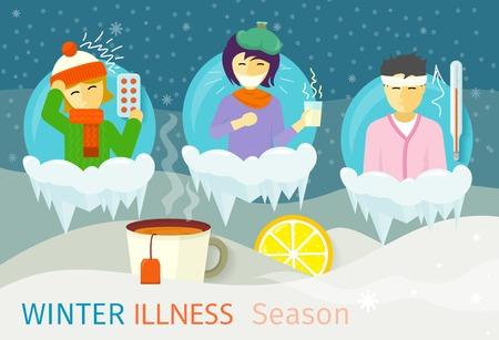 季節の冬の病気の人々 をデザインします。風邪や病気、ウイルス、健康、インフルエンザ ウイルス感染病、病気、体調不良、温度を熱し、スカーフ