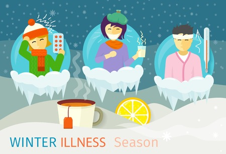 Winter illness season people design. Cold and sick, virus and health, flu infection, fever disease, sickness and temperature, unwell and scarf illustration Ilustração