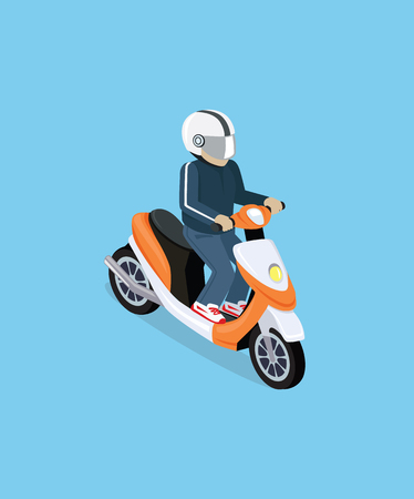 Flat 3d isometric motorcyclist on motorcycle. Motorbiker with motorcycle. Isometric motorcycle. Motorcycle isometric motor bike. Detailed illustration of isometric scooter. Isometric biker top view Иллюстрация