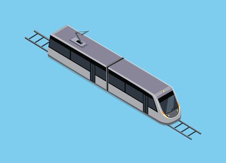 Vector isometrische van de metro. Voertuigen ontworpen om grote aantallen passagiers te vervoeren. Hoge snelheid inter-city trein. Isometrische trein. Vector openbaar elektrisch vervoer. isometrisch vervoer Vector Illustratie