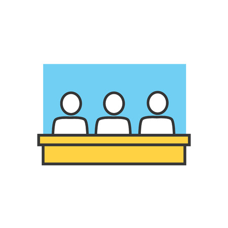 class room: Students in classroom icon. Group, class, group training, exercise class. School lesson. Training classroom icon. Training, education, presentation room. Group of people at table. Vector isolated icon