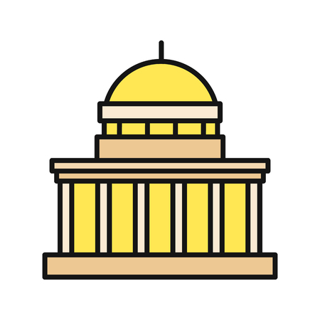 congress: Icon building flat design isolated. Construction and house, building construction, architecture government, dome and federal landmark, politics and congress illustration