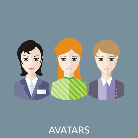 reception hotel: Reception manager avatars. Personal assistant concept set with time management and secretary work flat icons. Reception desk, receptionist, office reception, hotel reception, wedding reception