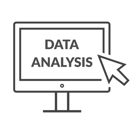 analyzing: Marketing data analytics analyzing statistics chart. Data analysis seo concept. Monitor with text Data Analysis. Isolated data analysis icon  Flat icon modern design style vector illustration concept.