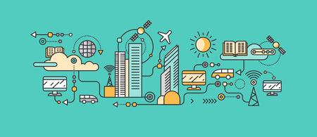 インフラストラクチャ市スマート ・ テクノロジー。アイコンとネットワーク システム、コミュニケーション革新町、接続、未来、情報、インター  イラスト・ベクター素材