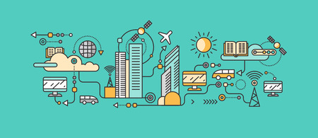 Smart technology in infrastructure city. Icon and network system, communication innovation town, connection and future, control information, internet. Smart industry city system development management Illustration