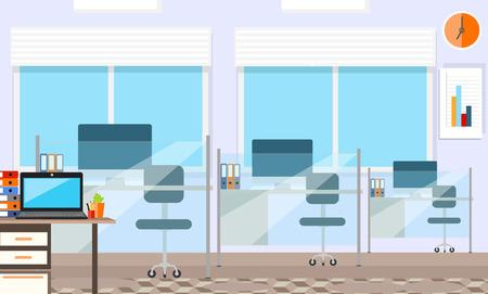 Moderne kantoor inter met designer bureaublad in plat design. Inter kantoor ruimte. Moderne kantoor ruimte. Kantoor ruimte. Vector illustratie van kantoor. Werkende plaats in de moderne kantooromgeving inter. Stock Illustratie