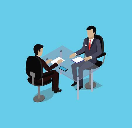 entrevista de trabajo: entrevista de contratación de reclutamiento isométrica. Mira reanudar empleador solicitante. Las manos sostienen el perfil CV. HR isométrica 3d, reclutamiento, estamos contratando. puesto de trabajo candidato. Contratar y entrevistador. Reunión de negocios Vectores
