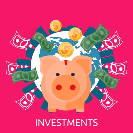 cartoon bank: Investment concept capitalization, money savings. Piggy bank, coin planet. Investment concept, finance, money, investor stock market, savings business, bank. Pig of earth with buildings and money