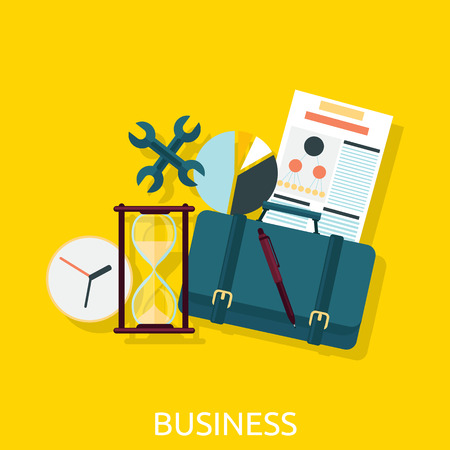 document management: Business icon concept flat design. Business icon, marketing and document, management and chart, organization and data, development strategy success illustration