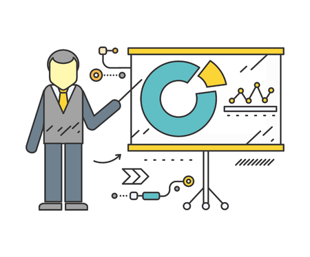 Stand with charts and parameters. Business concept of analytics. Poster banner on white background. Presentation and analysis, rating and performance indicators. Man near stand. Data analysis