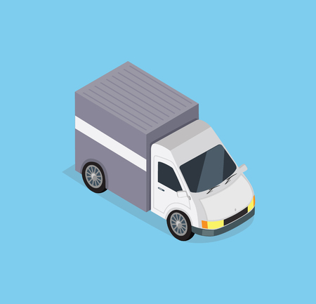 fast driving: Isometric delivery car icon. Delivery vector truck. Delivery service van. Fast delivery concept. Isometric van truck car. Isometric delivery truck car driving fast. Delivery transport truck icon